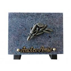plaque cimetière granit bouquet en bronze