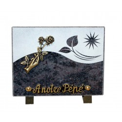 plaque tombale granit noir main rose en bronze