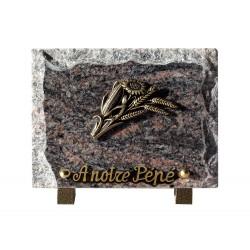 plaque funeraire granit fleurs en bronze