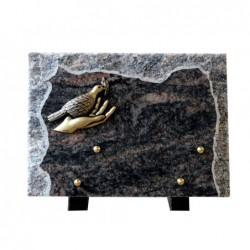 plaque funeraire granit colombe en bronze