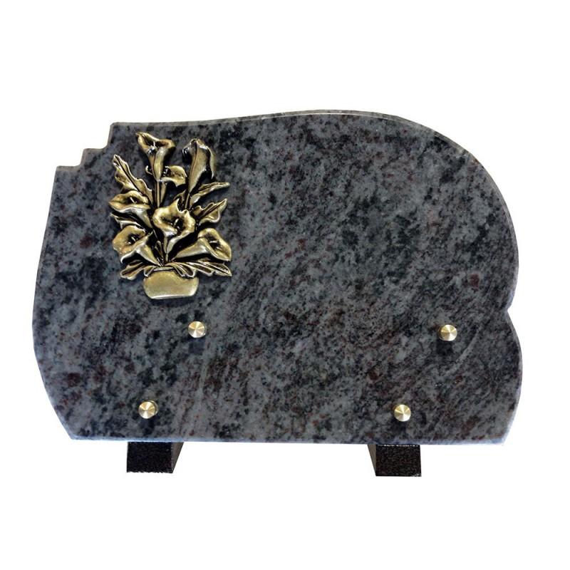 plaque funeraire granit gerbe d'arum en bronze