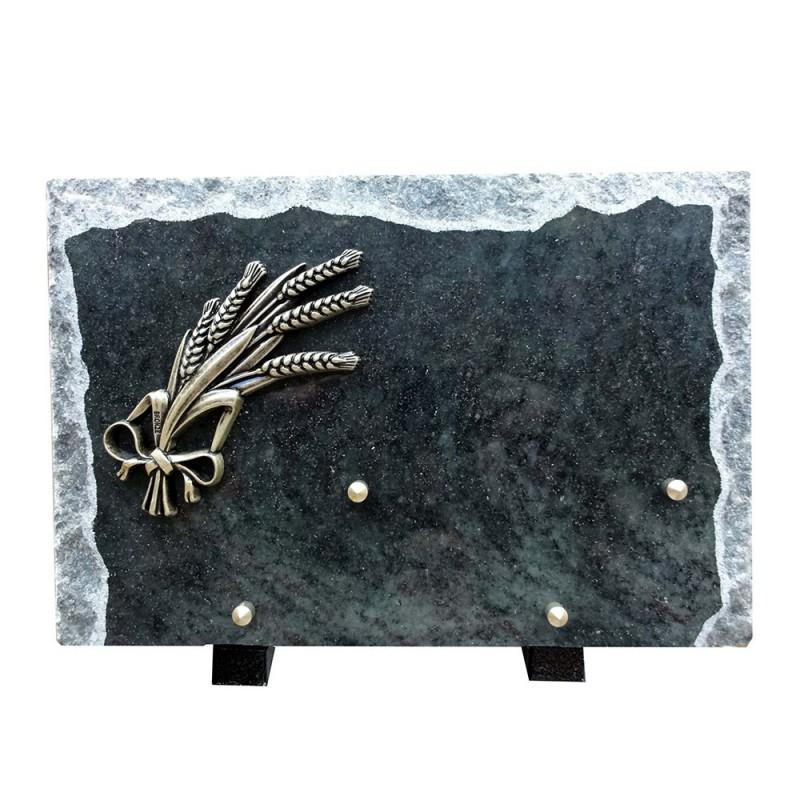 plaque mortuaire granit gerbe de blé en bronze