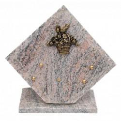 plaque funeraire granit avec panier fleuri en bronze