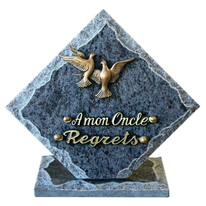 plaque cimetière oiseaux en bronze
