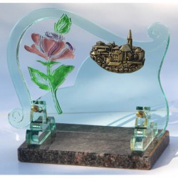 plaque funéraire altuglass avec fleur sérigraphiée