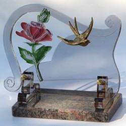 plaque funéraire altuglass avec hirondelle en bronze