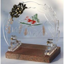 plaque funéraire altuglass avec décor champêtre