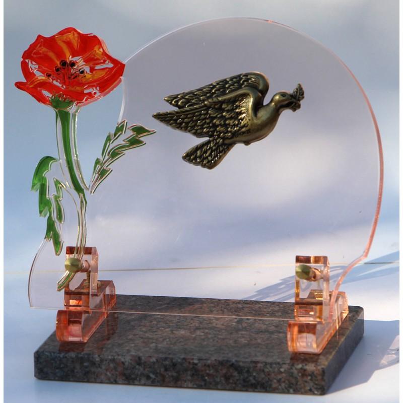 plaque funéraire altuglass avec colombe en bronze