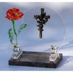plaque funéraire altuglass avec croix fleurie en bronze