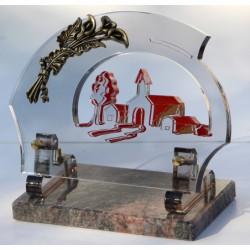 plaque funéraire altuglass avec gerbe d'arum en bronze