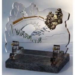 plaque funéraire altuglass avec maison en bronze