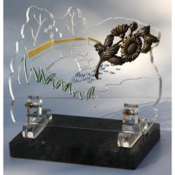 plaque funéraire altuglass avec marguerite en bronze