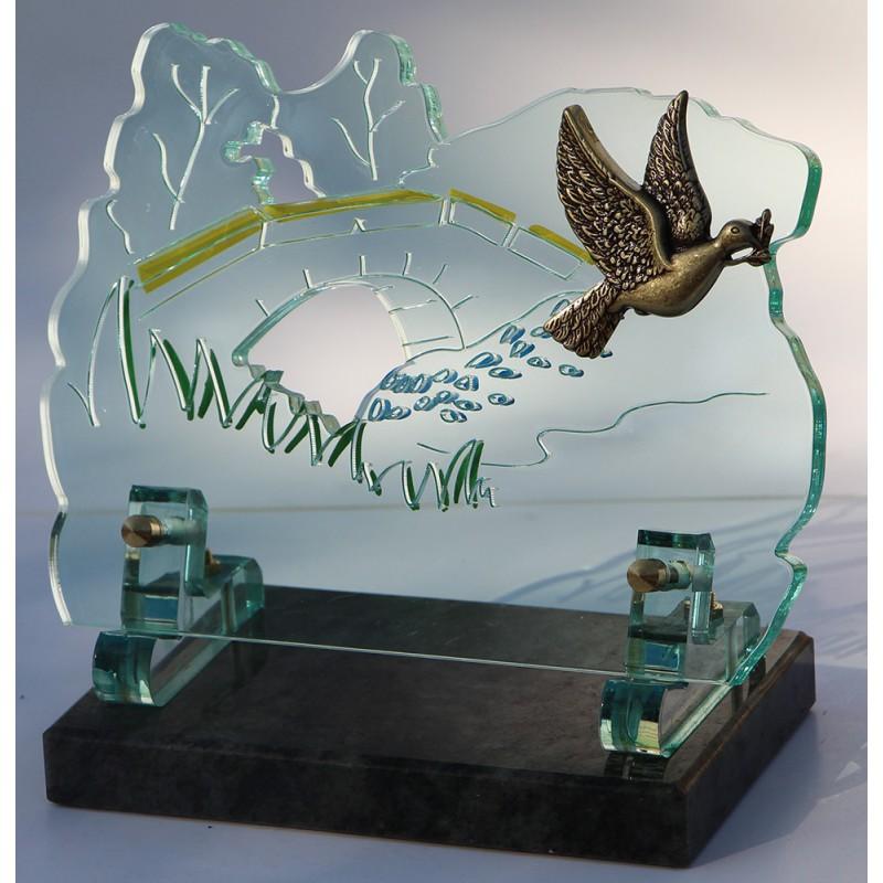plaque funéraire altuglass verte avec colombe en bronze