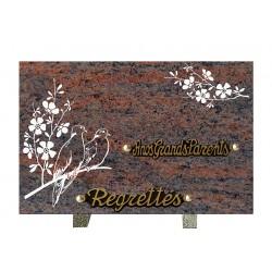 plaque mortuaire gravure de fleur et oiseaux