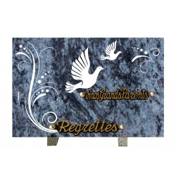 plaque mortuaire gravure de colombe