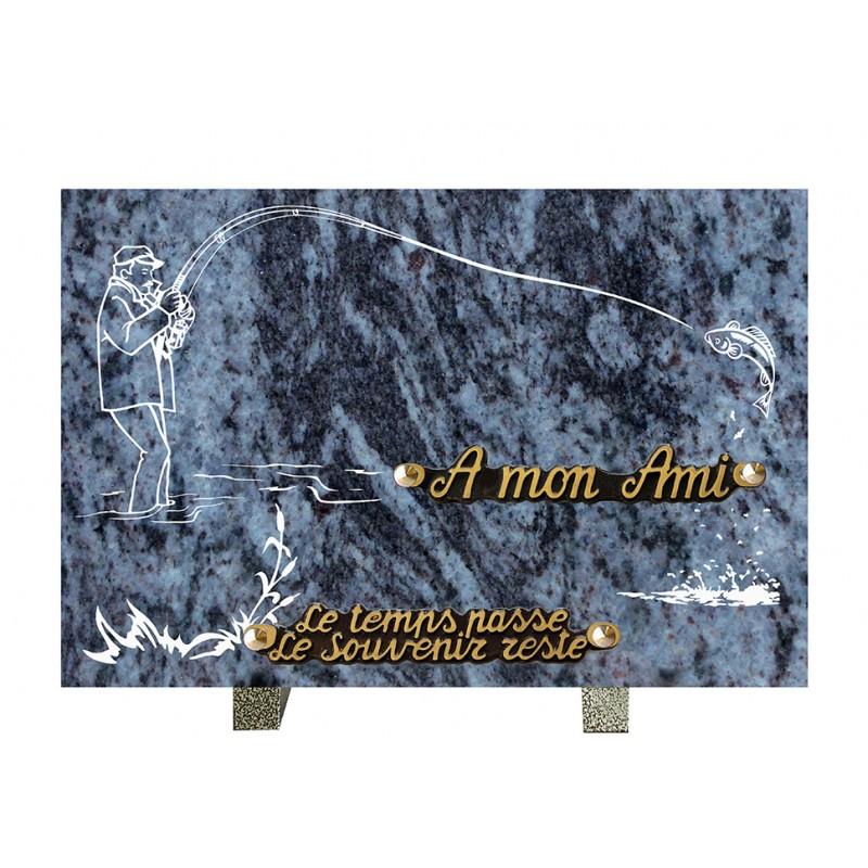 plaque mortuaire gravure de pêcheur
