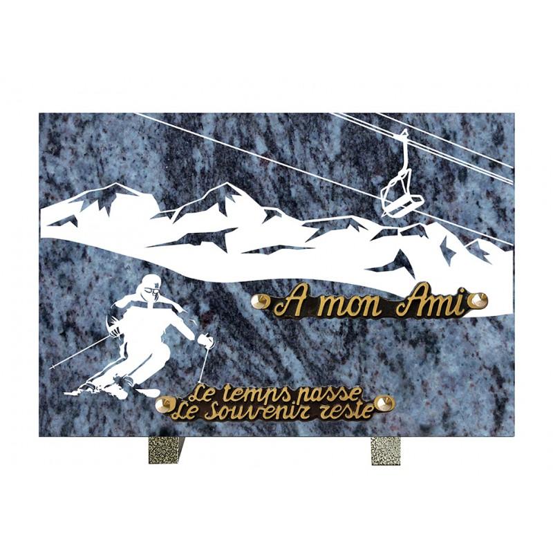 plaque mortuaire gravure de skieur
