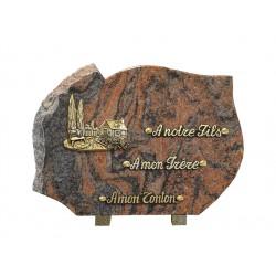 plaque mortuaire motif de maison