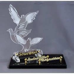 Plaque plexiglass funéraire avec oiseau