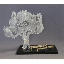 Plaque plexiglass funéraire avec un arbre olivier