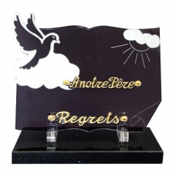 Plaque plexiglass mortuaire colombe et livre