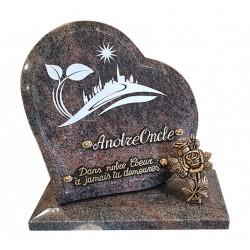 plaque cimetière granit en coeur