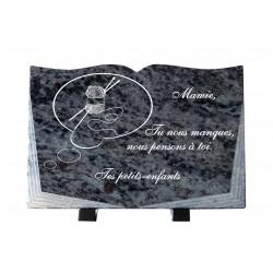 Plaque granit couture pelote de laine