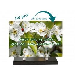 plaque funeraire fleur blanche et coccinelle